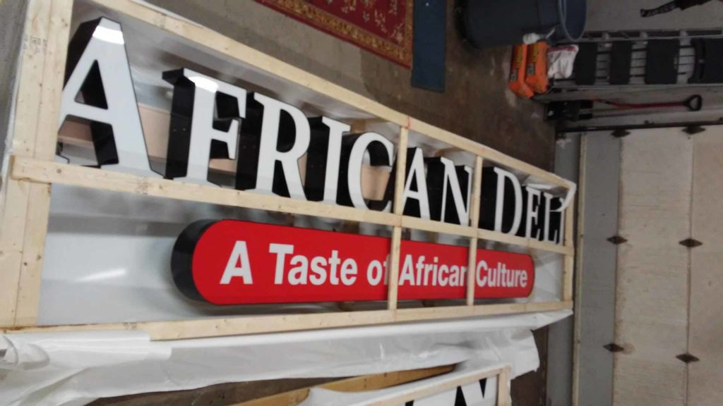 outdoor channel letters sign african deli