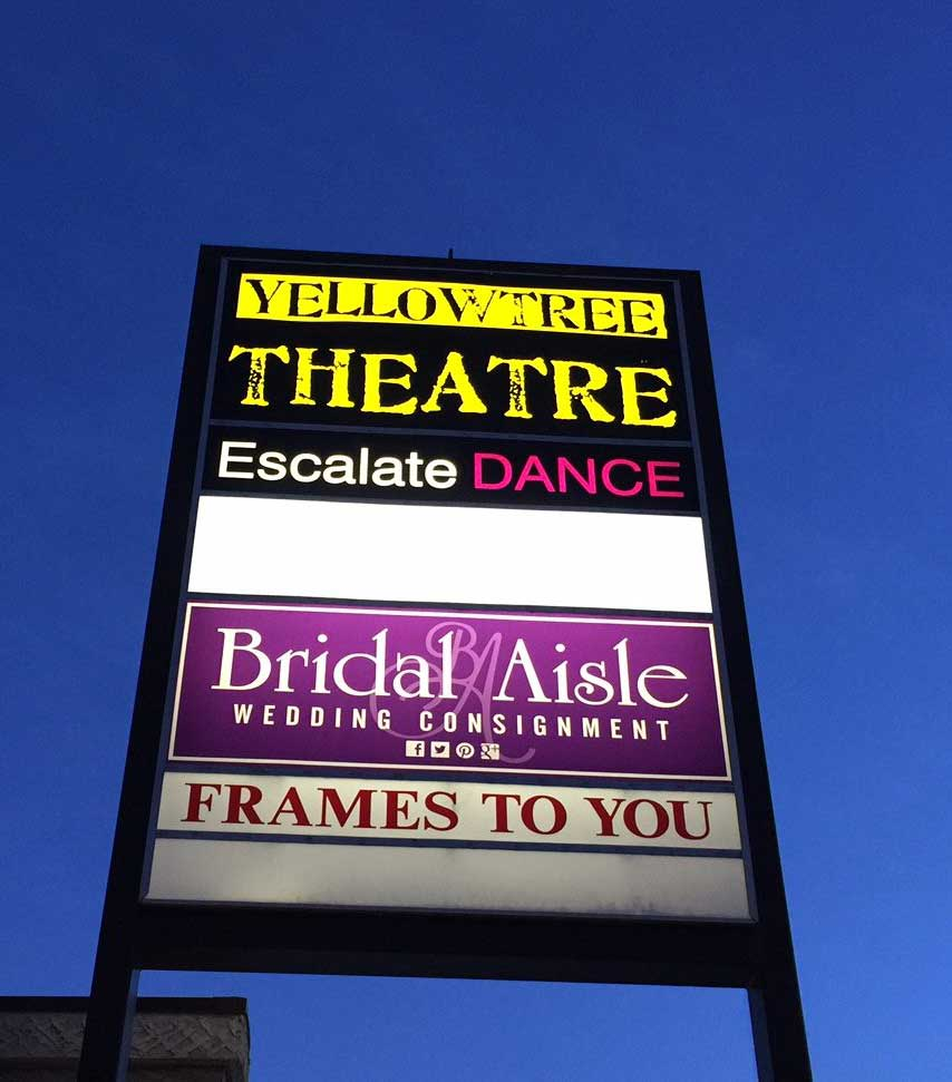 custom pylon sign yellowtree theatre