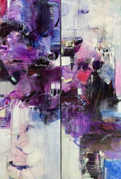 "Purple Jazz Diptych - 24""x36"""