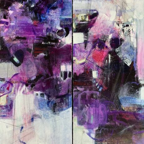 "Purple Jazz Diptych - 24""x36"""