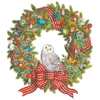 Caspari Owl Wreath Advent Calendar