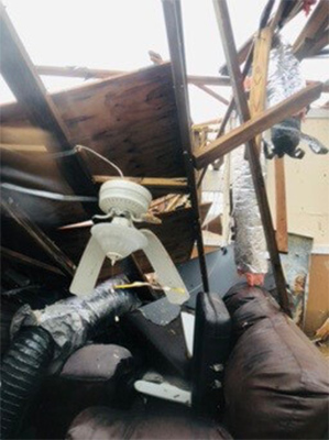 Inside of house destroyed by hurrcane