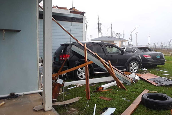 Car damage by hurricane