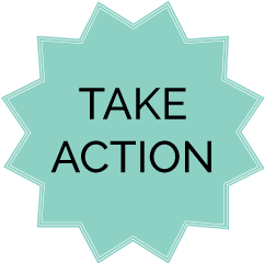 Take action text in starbust shape