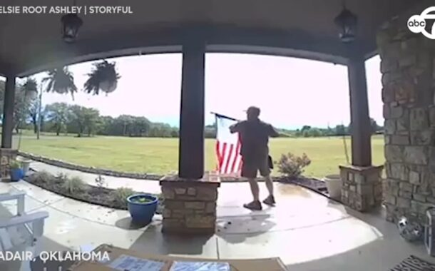 UPS driver stops to fix American flag in Oklahoma