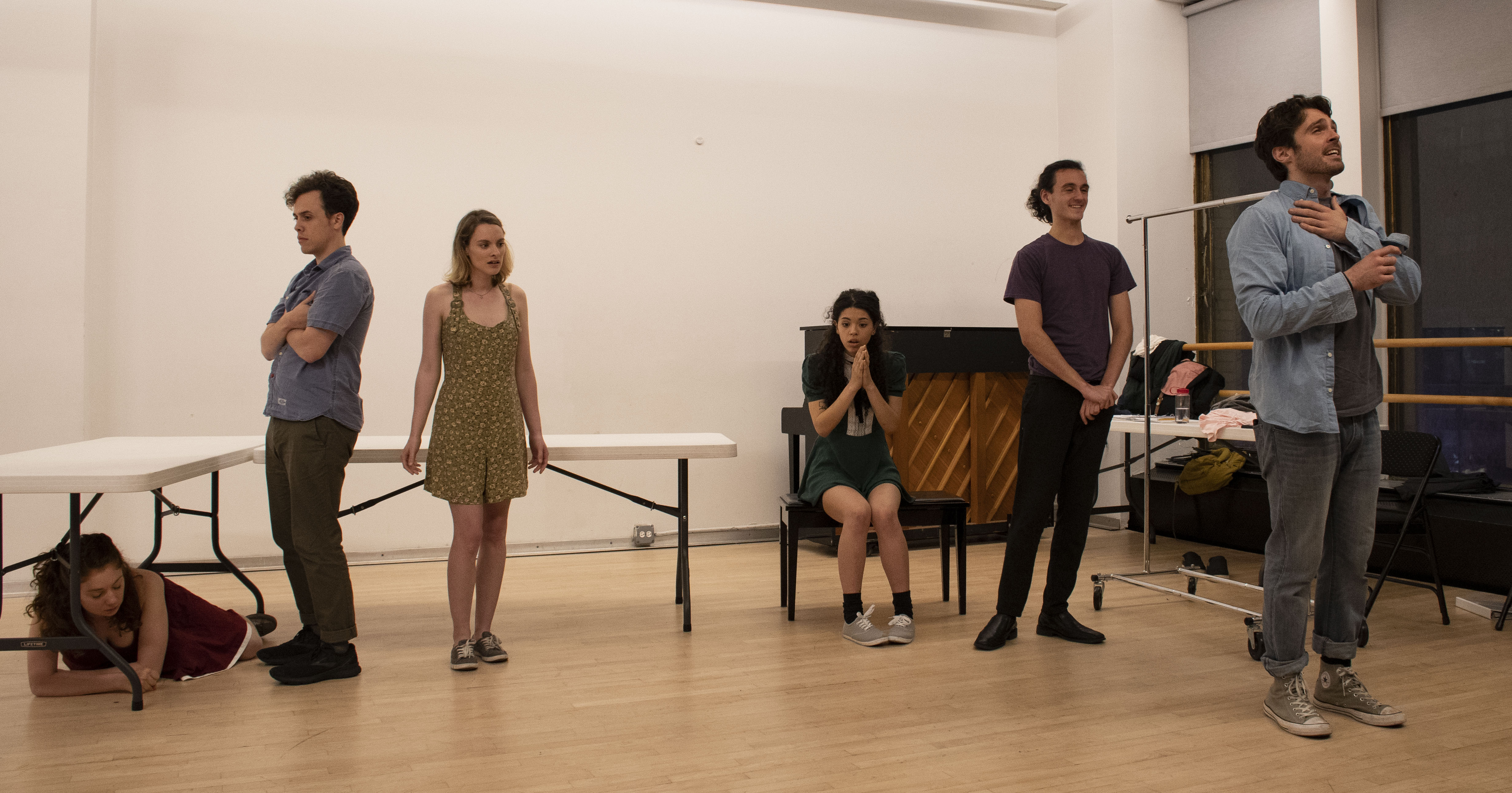 Butcher Shop cast looking different directions by Shoshana @bwaySHO