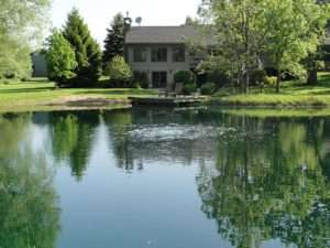 A clean pond with a small dock and aeration