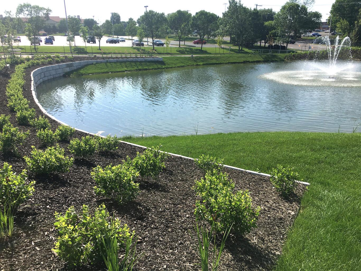 Overland Park Kansas Campus shows Retention pond health