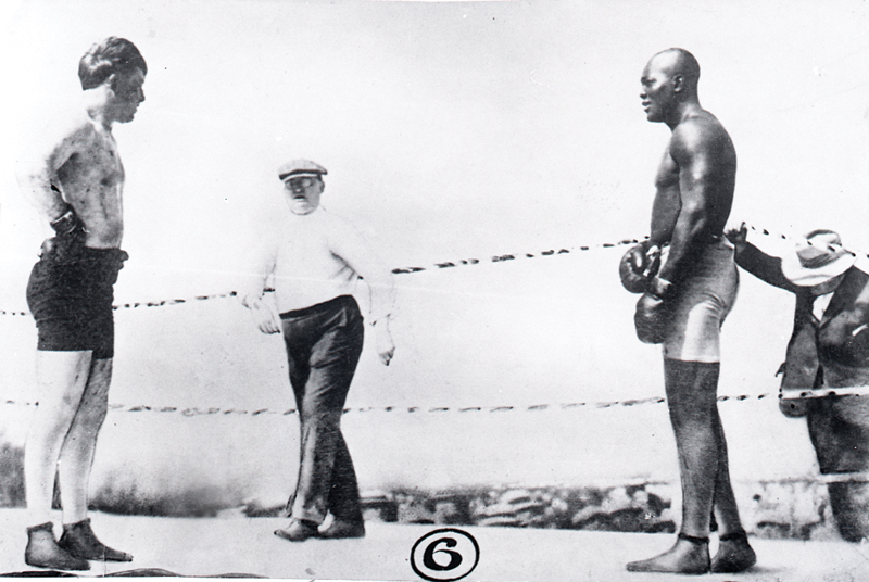Heavyweight Champion Jack Johnson and Challenger Fireman Jim Flynn before their 1912 bout