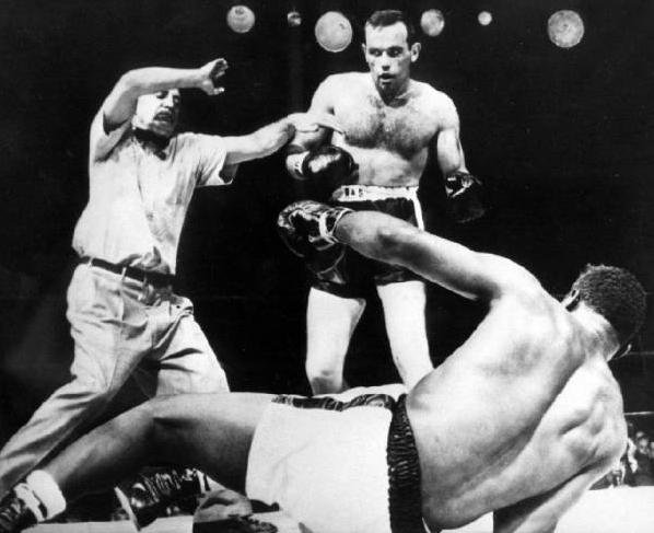 Johansson knocking out Floyd Patterson to capture the World Heavyweight Championship