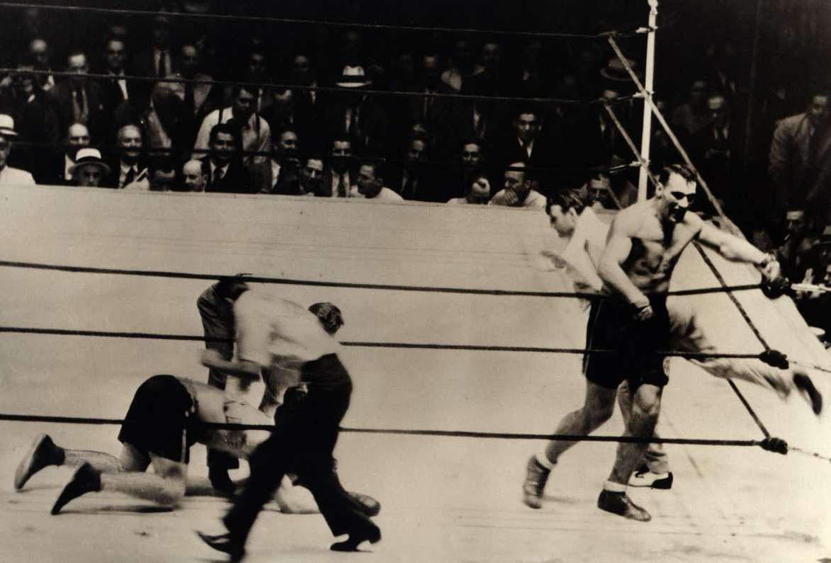 Primo Carnera knocks out Jack Sharkey in their second fight to capture the heavyweight title (CLICK ON PHOTO TO VIEW FIGHT CLIP)