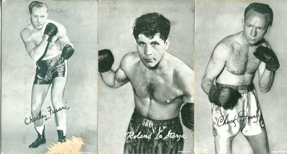 Fusari, LaStarza and Davey fight postcards