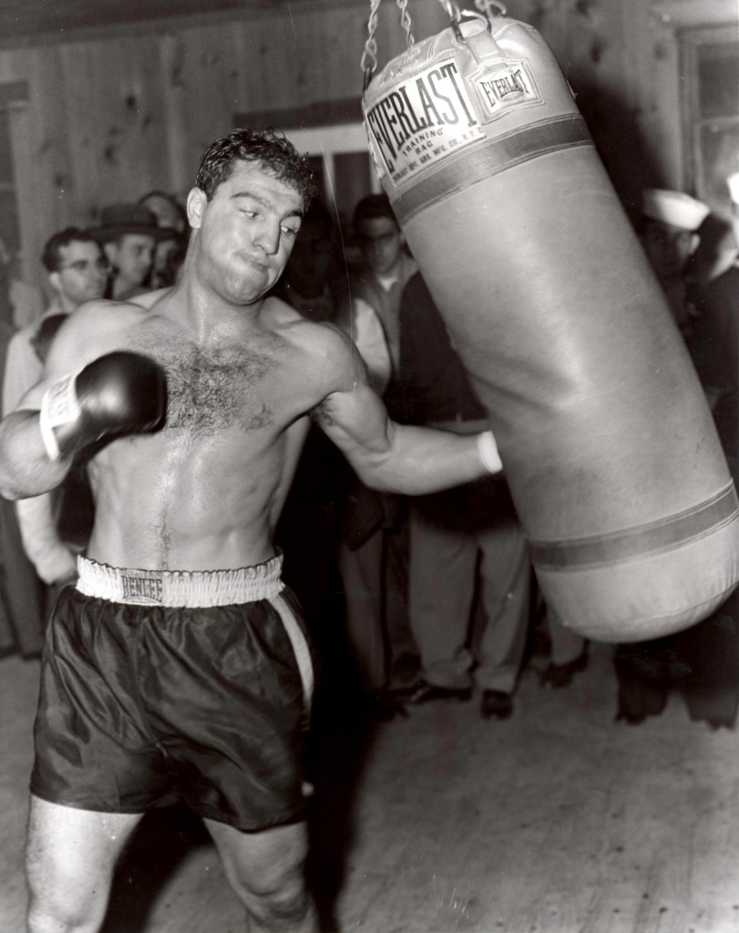 Rocky Marciano in training for bout with Joe Louis (PHOTO BY BARRY TAUB)