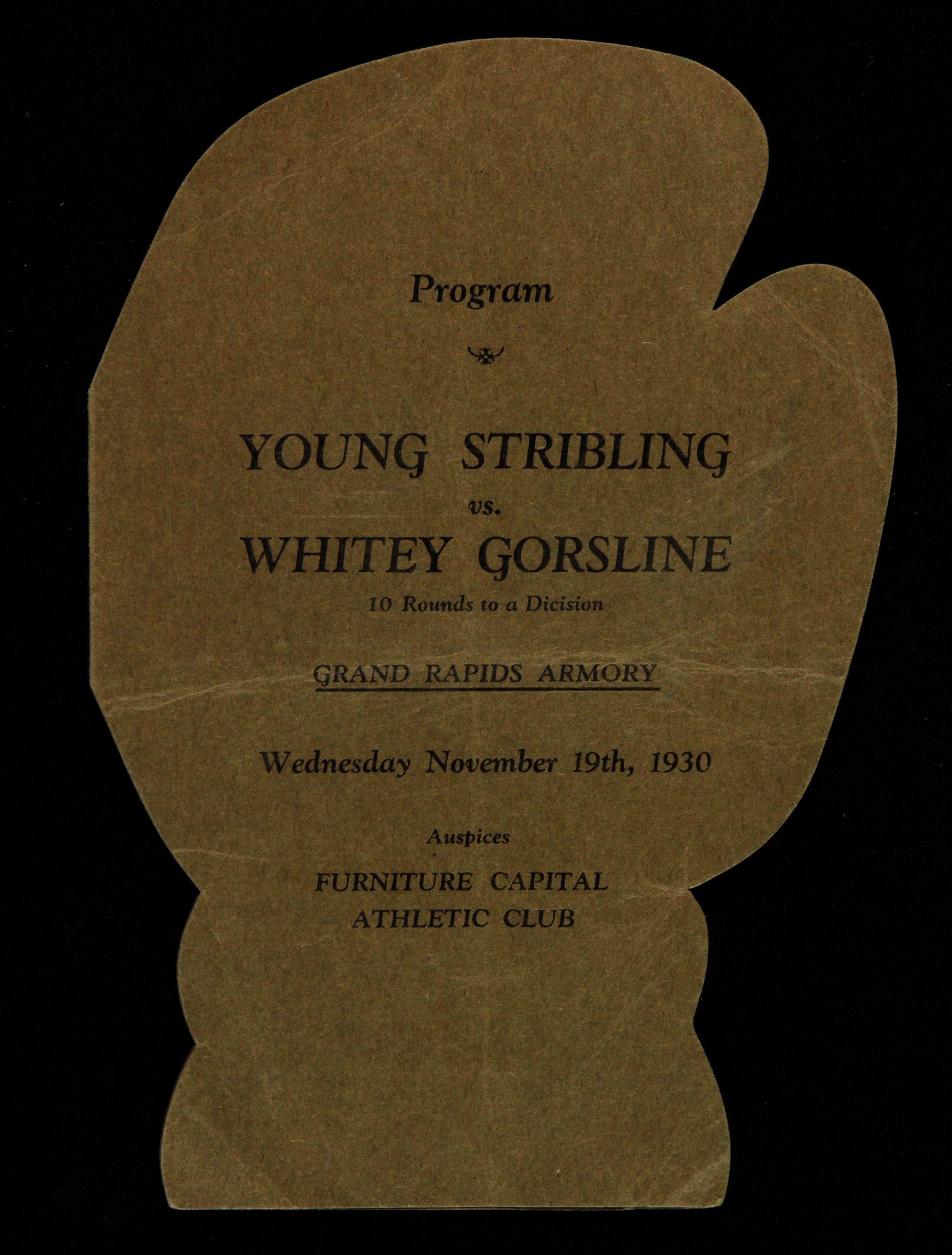 FIGHT PROGRAM STRIBLING-GORSLINE.
