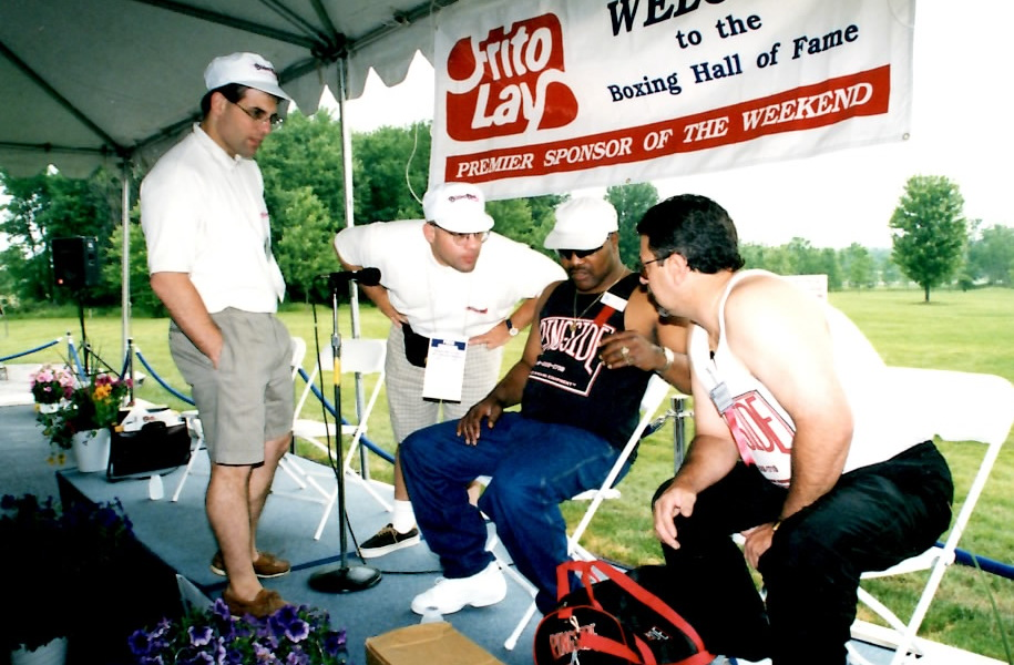 """The Boxing Twins interviewing Aaron """"Thge Hawk"""" Pryor at the Boxing Hall of Fame"""