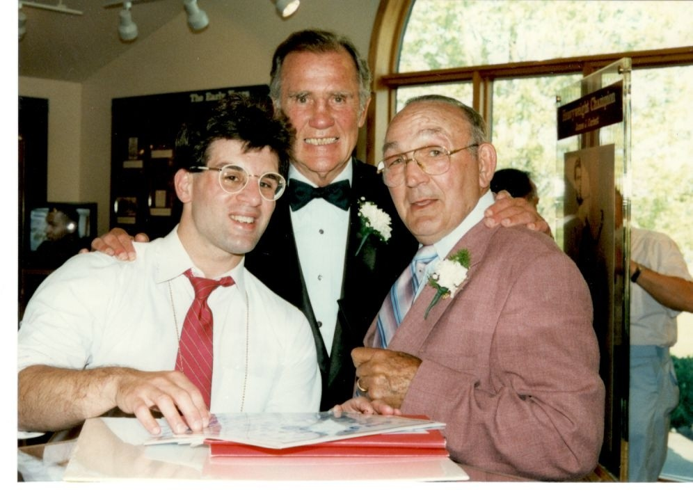 John Rinaldi with former light heavyweight king Billy Conn and former welter and middleweight champion Carmen Basilio.