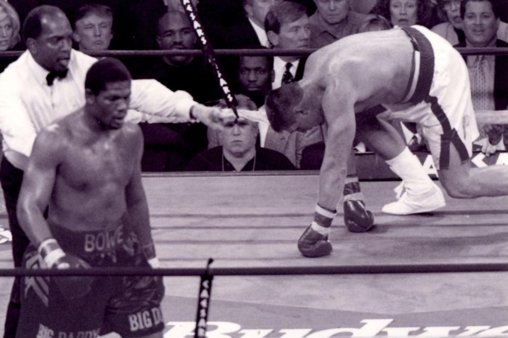 Riddick Bowe knocking down Andrew Golota in their second fight in 1996