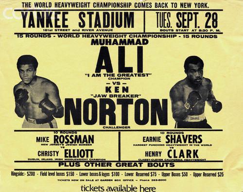 Poster for a 1976 World Heavyweight Championship boxing match between Muhammad Ali and Ken Norton. --- Image by © Bettmann/CORBIS