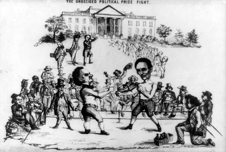 Cartoon Political boxing cartoon 1860 Lincoln.