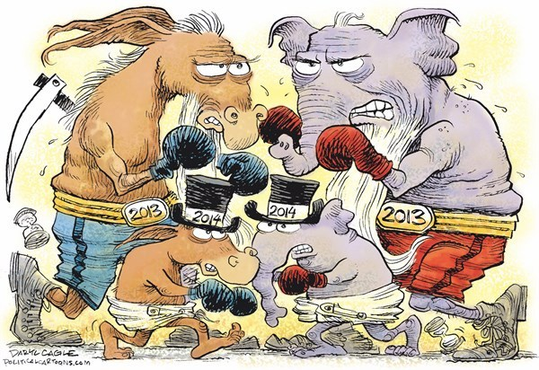 Cartoon political boxing cartoon 14.