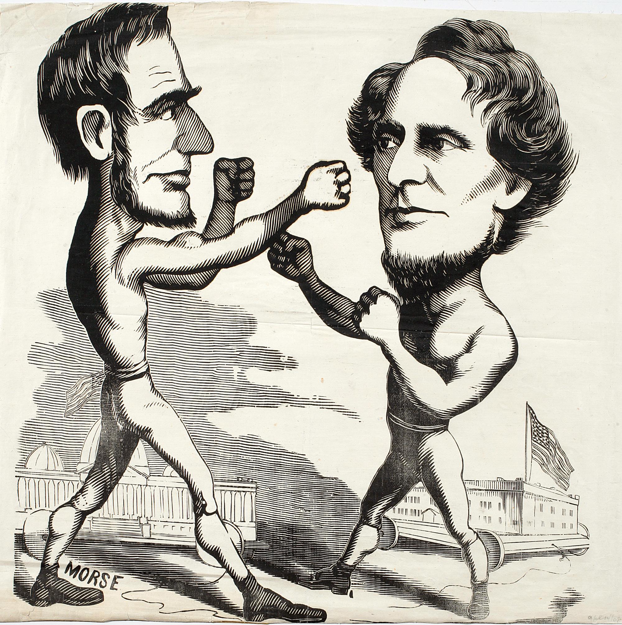 Cartoon political boxing cartoon Abraham Lincoln vs. Jefferson Davis.