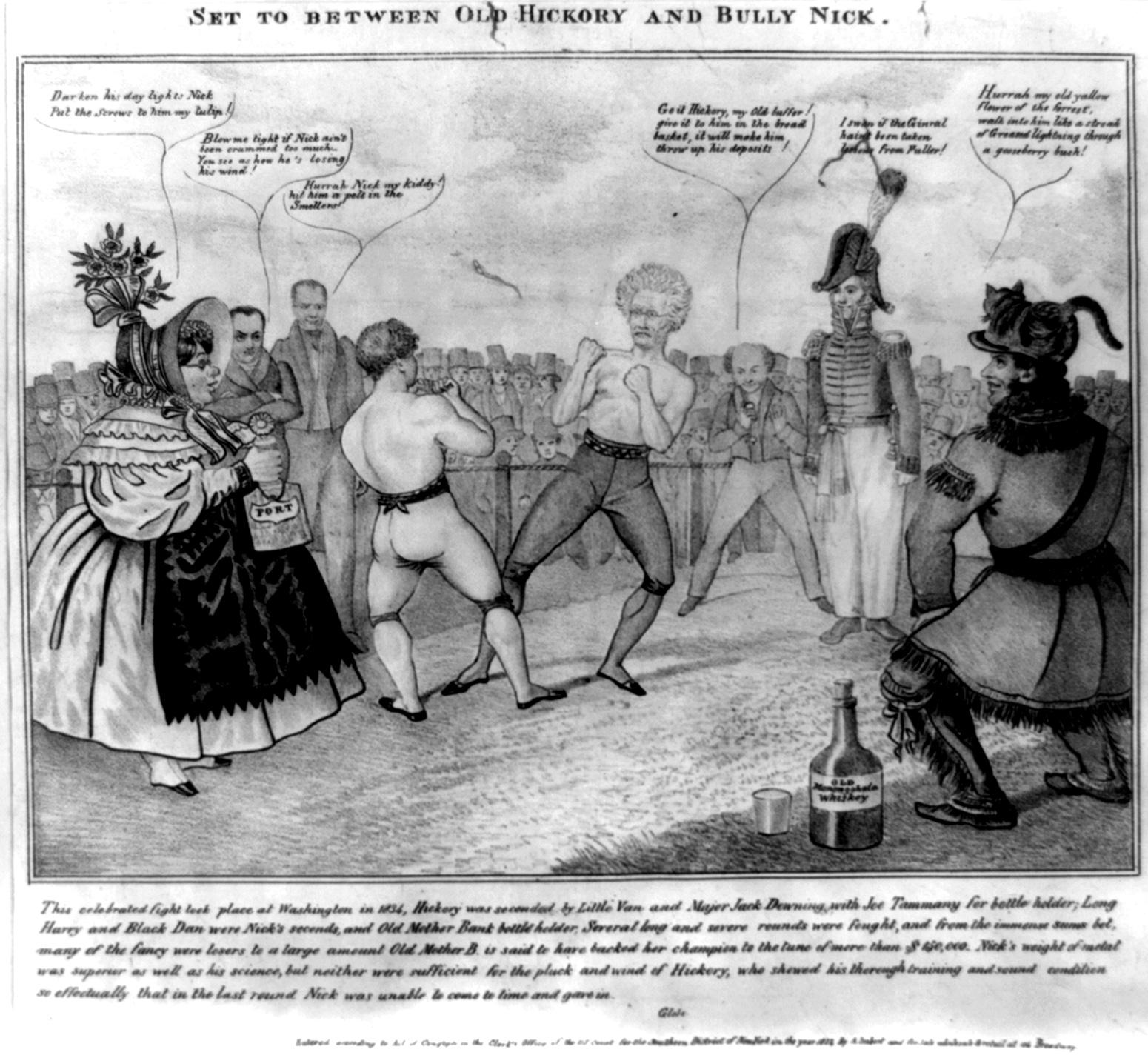 Cartoon political boxing cartoon Andrew Jackson.