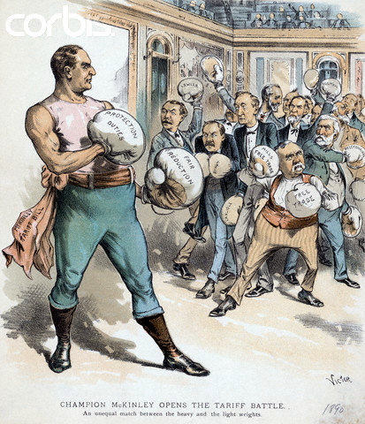 """1890 --- President McKinley wears boxing gloves in this political cartoon, fighting the """"lightweight"""" free trade advocates. The caption reads, """"Champion McKinley opens the tariff battle. An unequal match between the heavy and the light weights."""" --- Image by © AS400 DB/Corbis"""