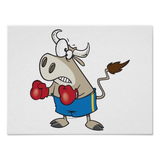 Boxing Cartoon Poster - Fighting Bull.