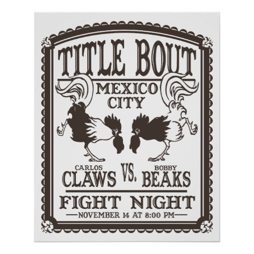 boxing cartoon posters - Mexican cock fight.