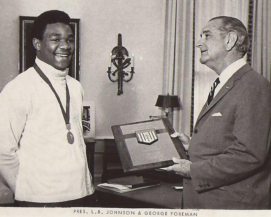 George Foreman meets President Lyndon Johnson after winning 1968 Gold Medal.