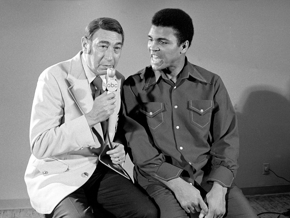 Muhammad Ali with ABC Sports announcer Howard Cosell during an interview at Caesars Palace Hotel. Las Vegas, Nevada 2/14/1973 (Image # 2021 )
