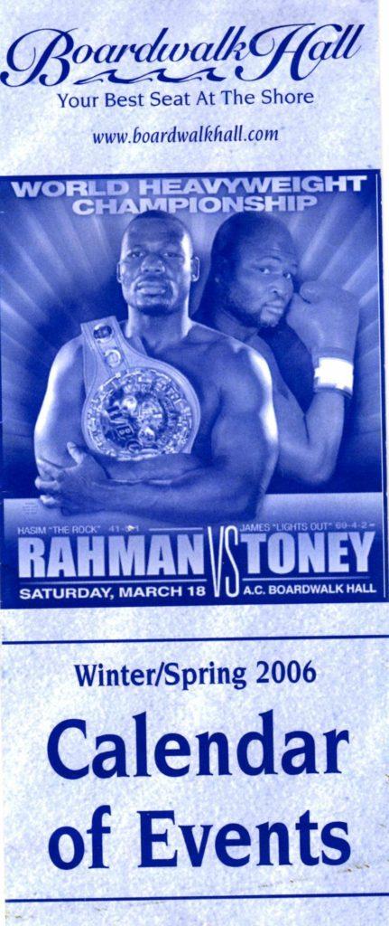 Rahman-Toney program for March 18, 2006 bout.