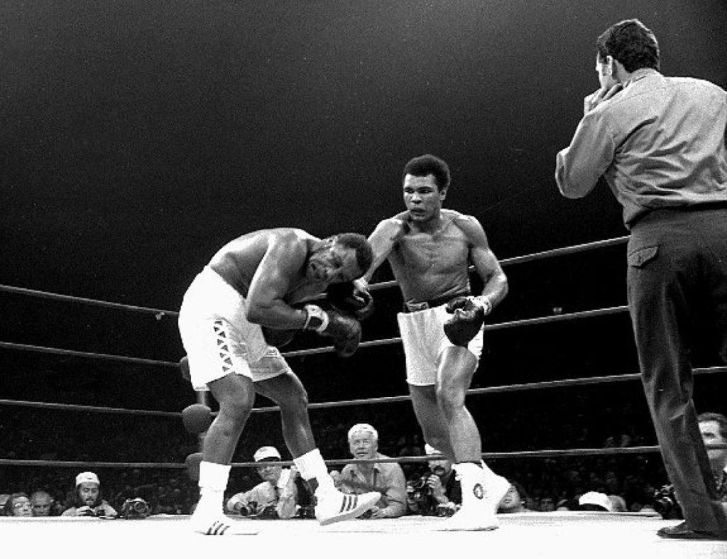 Ali vs. Frazier II fight action.