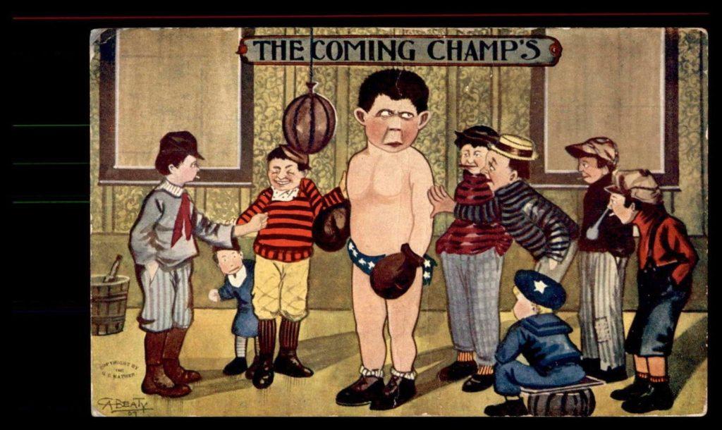 Boxing Cartoon - 1900 Postcard.