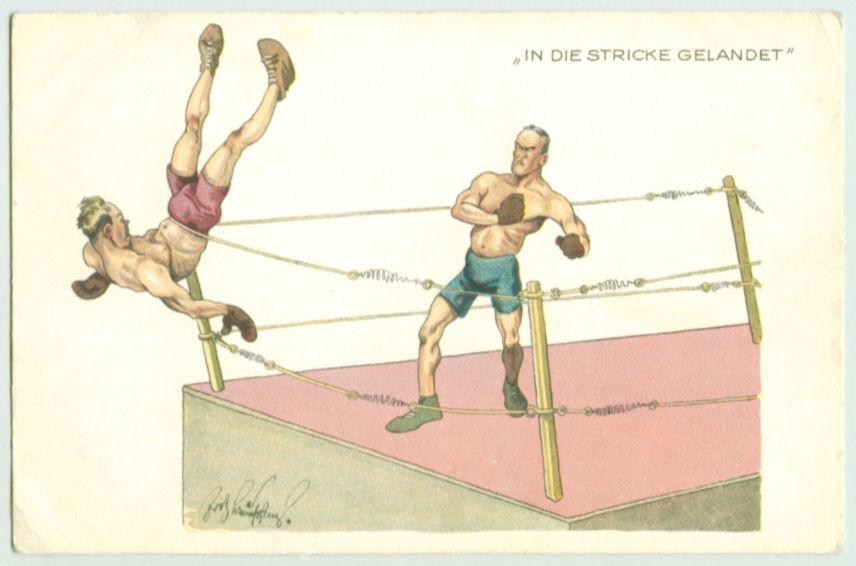 Boxing Cartoon - 1910 German postcard.