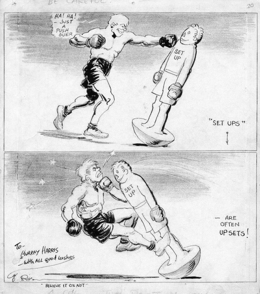 Boxing Cartoon - 1920 Ripley's Believe It Or Not.