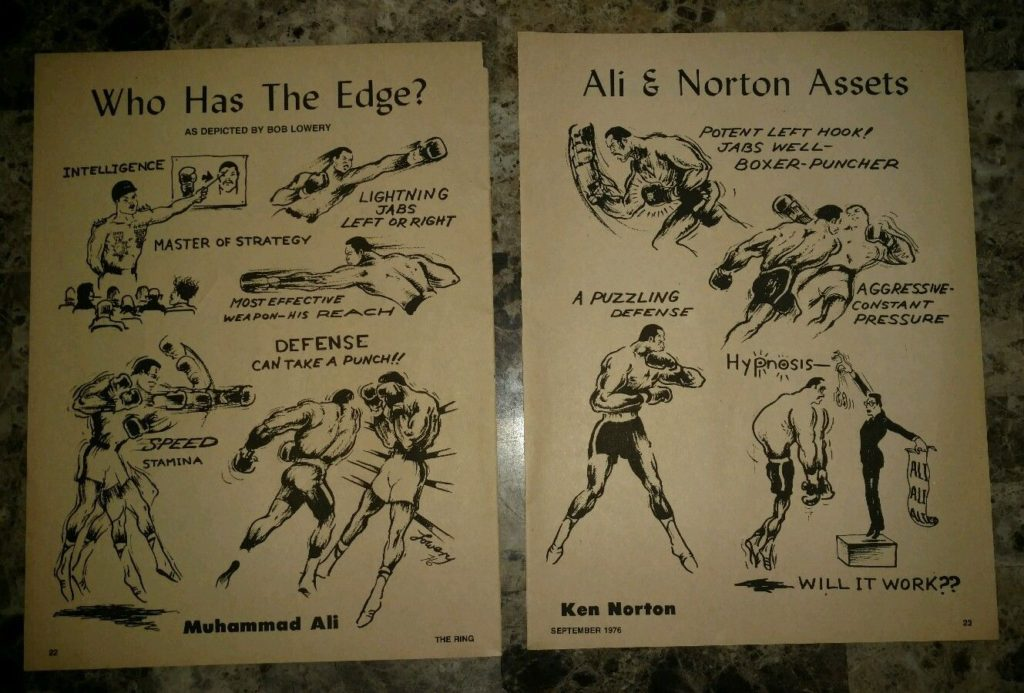Boxing Cartoon - Muhammad Ali vs. Ken Norton Third Bout 1976.