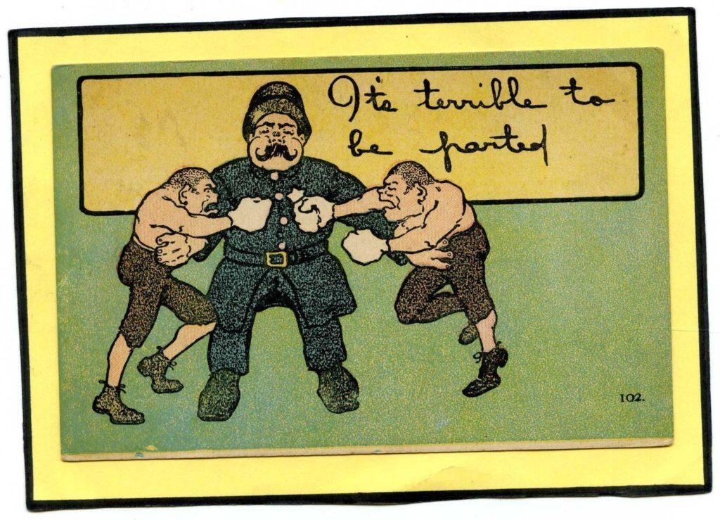 Boxing Cartoon - Old Postcard.