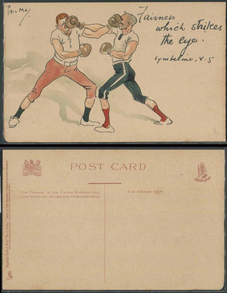 Boxing Cartoon - vintage post card.