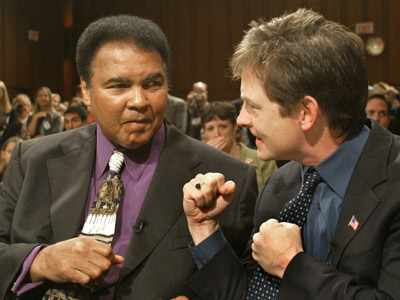 Celebrities - Michael J. Fox with Muhammad Ali.