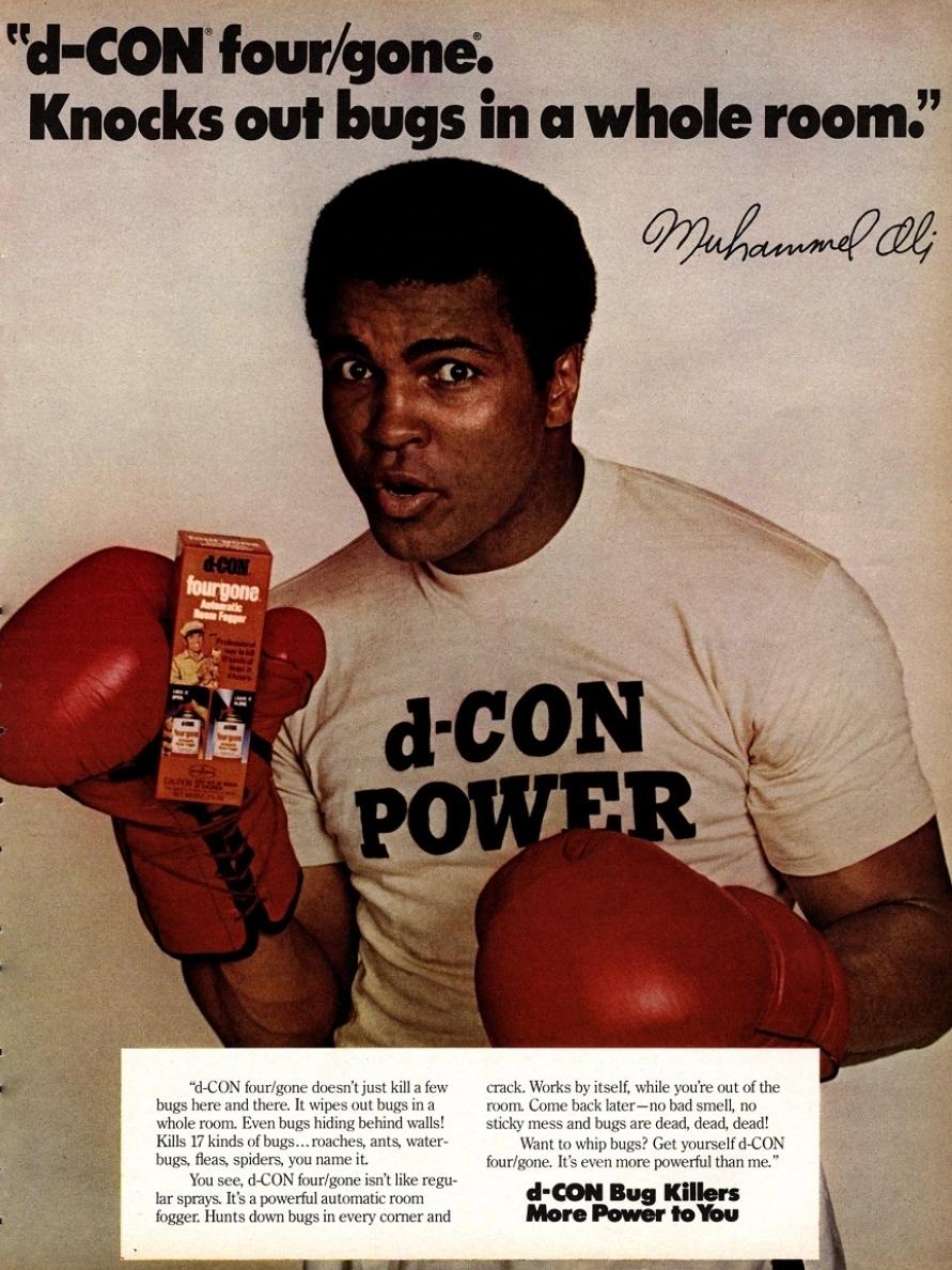 Muhammad Ali de-Con Bug Killer Ad.
