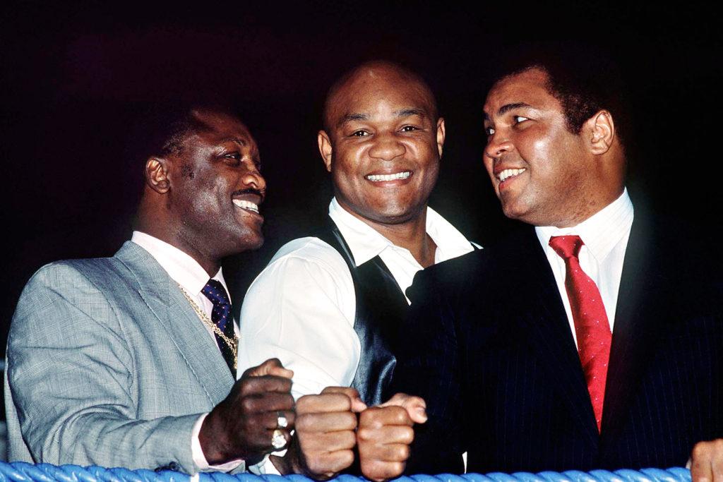 Joe Frazier, George Foreman and Muhammad Ali.