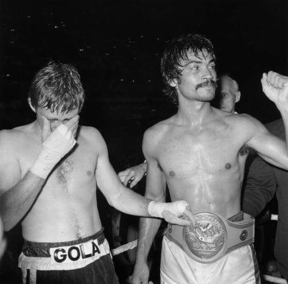Carlos Palomino wearing the new WBC welterweight title belt after defeating champion John H. Stracey by a 12th-round TKO to win the WBC and Lineal World Welterweight Championship on June 22, 1976.