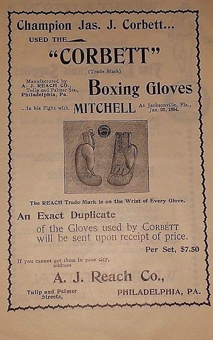James J. Corbett Boxing Gloves Ad