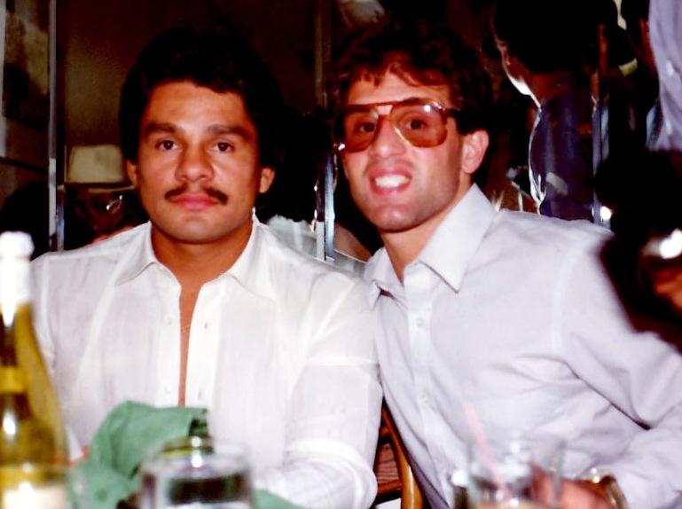 Roberto Duran with John Rinaldi at the Press Conference for Hagler-Duran in 1983 in New York City.