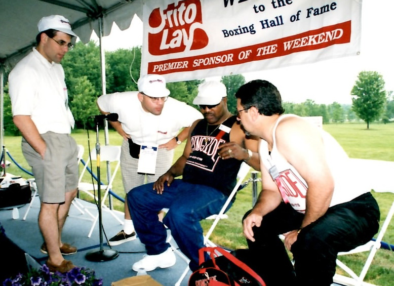 """Alex and John Rinaldi with Aaron """"The Hawk"""" Pryor at the Boxing Hall of Fame"""