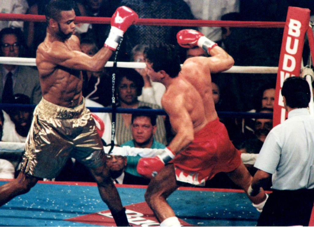 Roy Jones Jr. (L) and Vinny Pazienza (R) square off in their June 24, 1995 bout in Atlantic city for the IBF super middleweight title(PHOTO BY ALEX RINALDI)