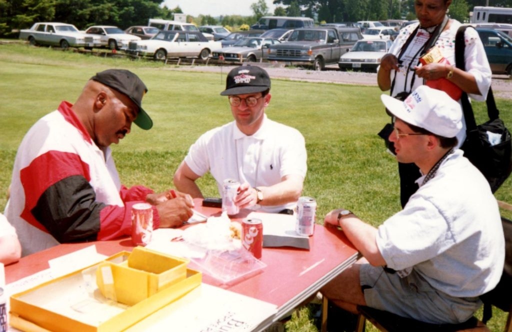 John (C) and Alex Rinaldi (R) interviewing former heavyweight contender Ernie Shavers (L) (PHOTO BY GERARD RINALDI)