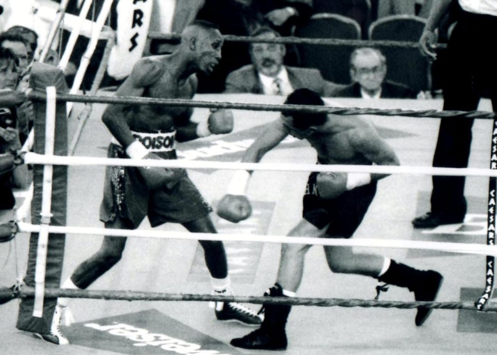"Junior ""Poison"" Jones (L) defending his WBA World Banatamweight title against John Michael Johnson on april 22, 1994, which Johnson won by TKO 11. (PHOTO BY ALEX RINALDI)"