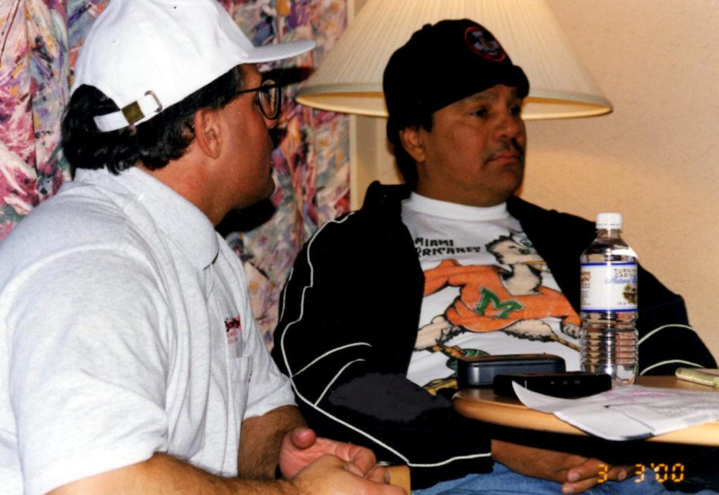 John Rinaldi with Roberto Duran in 2000 during the historic Boxing Twins - Roberto Duran Interview.